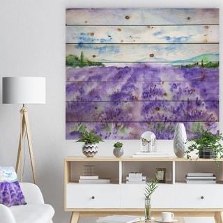 Designart 'Lavender Fields Watercolor' Landscape Print on Natural Pine Wood - Multi-color