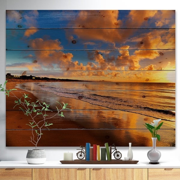 Designart 'Colorful Sunset on the Beach' Landscape Print on Natural Pine Wood - Multi-color