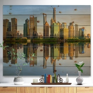 Designart 'Shanghai Huangpu River at Sunset' Cityscape Print on Natural Pine Wood - Multi-color