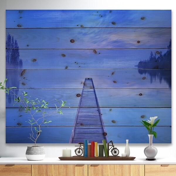Designart 'Jetty at Blue Dawn Panorama' Bridge Print on Natural Pine Wood