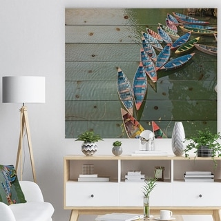 Designart 'Phewa Lake in Pokhara Nepal' Boat Print on Natural Pine Wood - Multi-color