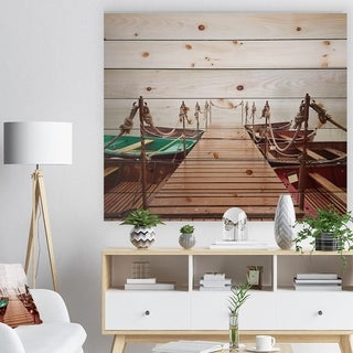 Designart 'Boats in Mysterious Fog' Boat Print on Natural Pine Wood - Multi-color