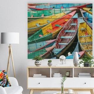 Designart 'Rowing Boats on the Lake in Pokhara' Boat Print on Natural Pine Wood - Multi-color
