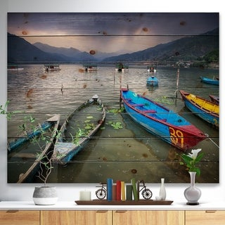 Designart 'Boats near Pokhara Lake' Boat Print on Natural Pine Wood - Multi-color