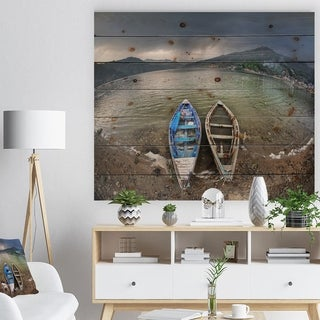 Designart 'Two Boats near Pokhara Lake' Boat Print on Natural Pine Wood - Multi-color