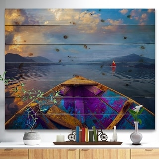 Designart 'Boat in Himalaya Mountains Lake' Boat Print on Natural Pine Wood - Multi-color