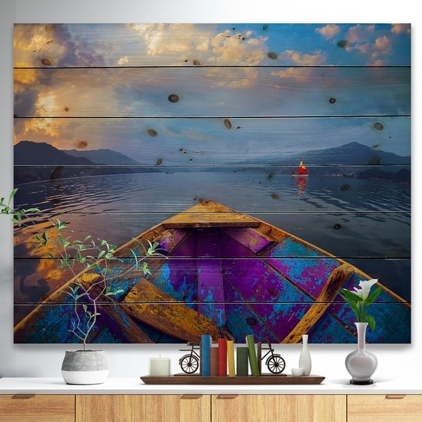 Shop Designart Boat In Himalaya Mountains Lake Boat Print On