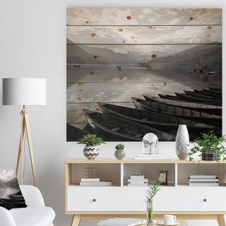 Designart 'Boats Lined up on Pokhara Lake' Boat Print on Natural Pine Wood - Multi-color