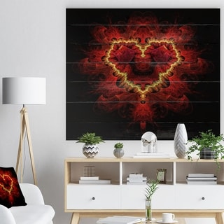 Designart 'Fractal Red Heart Texture' Abstract Print on Natural Pine Wood