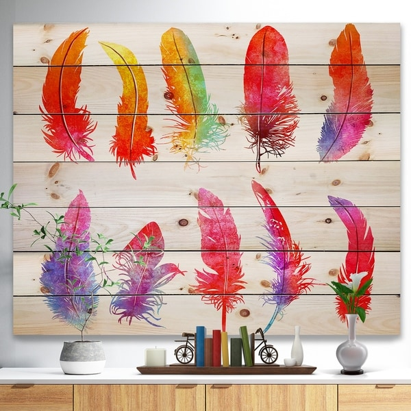 Designart 'Bright Colorful Feather Set' Animals Painting Print on Natural Pine Wood - White