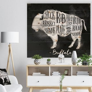 Designart 'Buffalo cutting scheme chalk' Farmhouse Animal Painting Print on Natural Pine Wood - Black