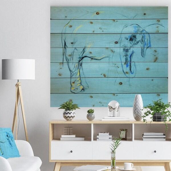 Designart 'Elephant painting' Animals Sketch Painting Print on Natural Pine Wood - Blue