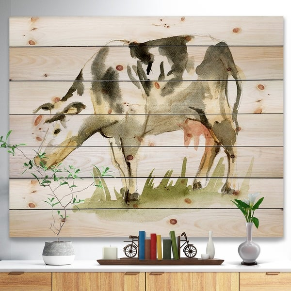 Designart 'Watercolor spotted cow' Farmhouse Sketch Painting Print on Natural Pine Wood - White
