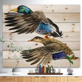 Designart 'Colored Duck isolated on white background' Sketch of Farmhouse Animals of Painting Print on Natural Pine Wood