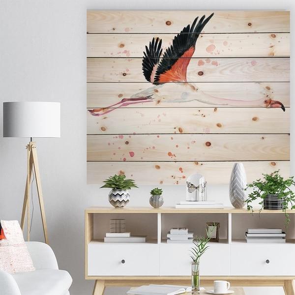 Designart 'Watercolor pink flamingo' Animals Painting Print on Natural Pine Wood - White