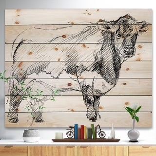 Designart 'Handdrawn Dairy cow' Sketch of Farmhouse Animals of Painting Print on Natural Pine Wood - White