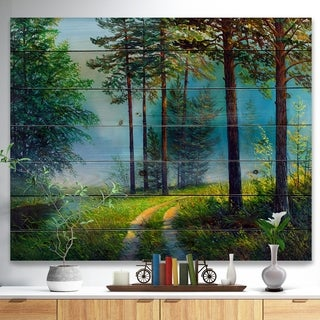 Designart 'Colorful Summer Forest in Waterfall' Landscapes Painting Print on Natural Pine Wood - Green
