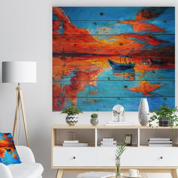 Designart 'Golden Sunsent and Blue Sky over Sail Boats' Nautical Painting Print on Natural Pine Wood