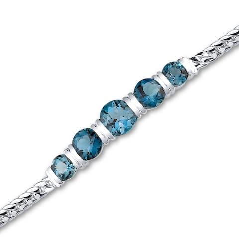 London Blue Topaz Bracelet Sterling Silver 5.00 Carats 5 Stone Design