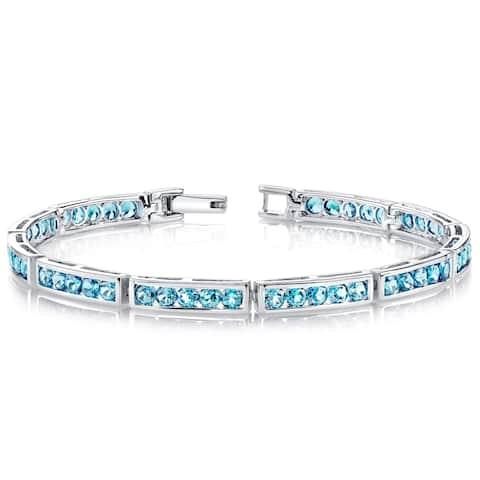London Blue Topaz Bracelet Sterling Silver 6.00 Carats Channel Set