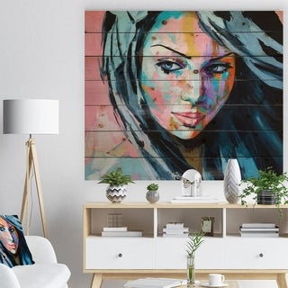 'Woman Portrait Trust me' Glamour Painting Print on Natural Pine Wood - Multi-color