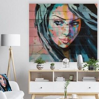 Designart 'Woman Portrait Trust me' Glamour Painting Print on Natural Pine Wood - Multi-color