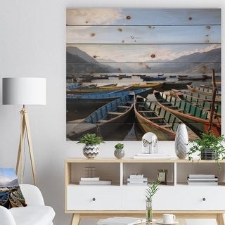 Designart 'Colorful Boats Pokhara Lake' Boat Print on Natural Pine Wood - Multi-color