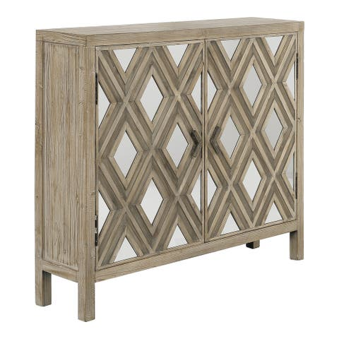 Uttermost Tahira Ivory and Chestnut Grey Mirrored Accent Cabinet