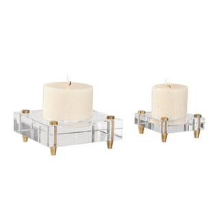 Uttermost Claire Crystal Block Candleholders (Set of 2)