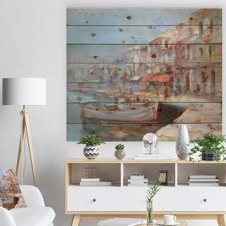 Designart 'Five Old Fishing Boats in harbor' Sea & Shore Painting Print on Natural Pine Wood - Blue