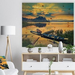 Designart 'Boats on Water Twilight after Sunset' Sea & Shore Painting Print on Natural Pine Wood - Brown