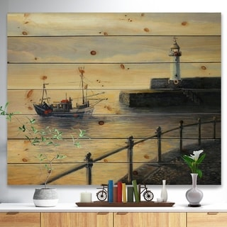 Designart 'Memories of The Old Lighthouse' Sea & Shore Painting Print on Natural Pine Wood - Brown
