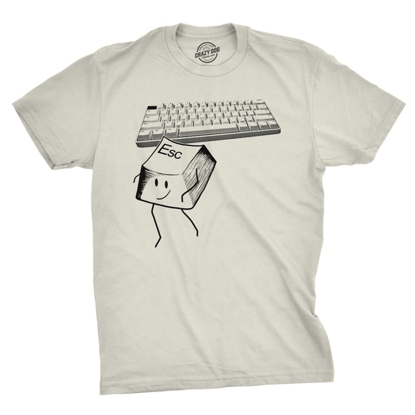 6b008bf5 Shop Mens Escape Key Tshirt Funny Nerdy Computer Keyboard Tee For Guys - On  Sale - Free Shipping On Orders Over $45 - Overstock - 23549115