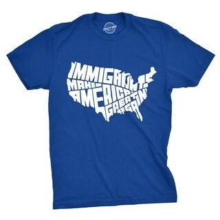 Mens Immigrants Make America Great Again Tshirt Political USA Tee For Guys