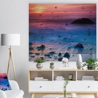 Designart 'Bright Colorful Rocky Coast Panorama' Seashore Print on Natural Pine Wood - Blue