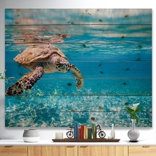 Designart 'Large Hawksbill Sea Turtle' Abstract Print on Natural Pine Wood - Blue
