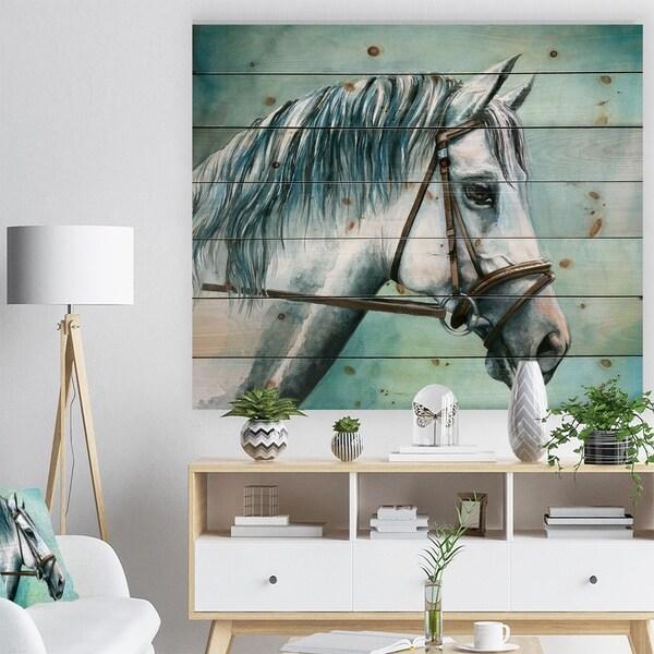 Designart 'Gray Horse on Blue Background' Animal Print on Natural Pine Wood