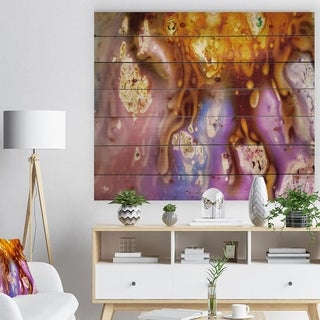 Designart 'Colorful Precious Patterns' Abstract Print on Natural Pine Wood - Multi-color