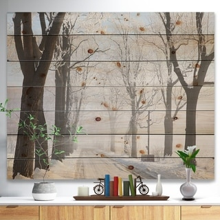 Designart 'Misty Rural Road in Winter Forest' Forest Print on Natural Pine Wood - White