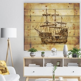 Designart 'Old Travelling Boat Drawing' Seashore Print on Natural Pine Wood - Multi-color