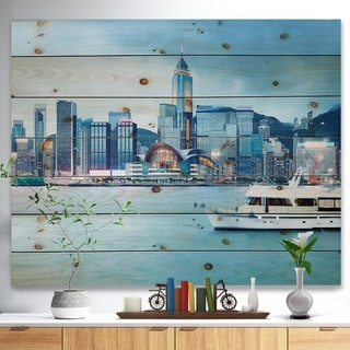 Designart 'Hong Kong City at Night' Cityscape Print on Natural Pine Wood - Multi-color