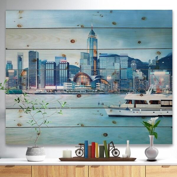 Designart 'Hong Kong City at Night' Cityscape Print on Natural Pine Wood - Multi-color