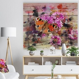Designart 'Pink Flowers and Cute Butterflies' Floral Print on Natural Pine Wood - Pink