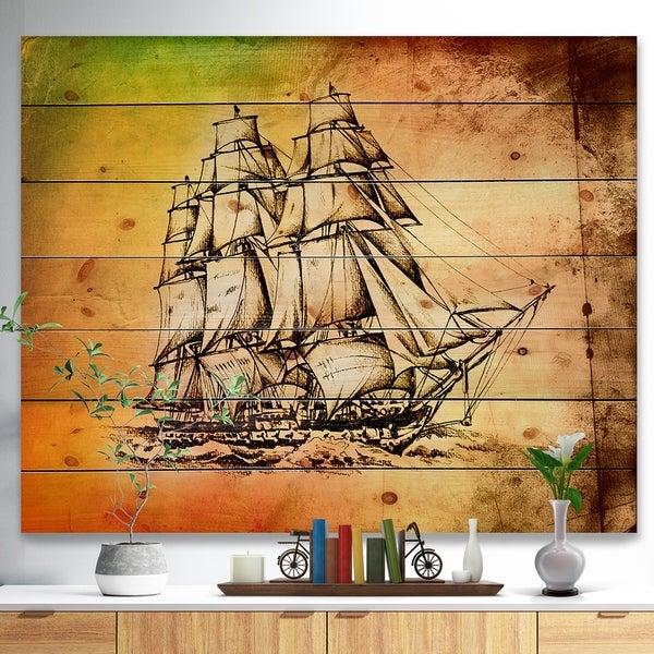 Designart 'Large Ancient Moving Boat' Seashore Print on Natural Pine Wood - Multi-color