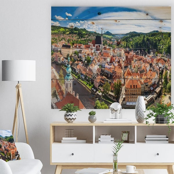 Designart 'City Aerial View Panorama' Cityscape Print on Natural Pine Wood - Multi-color