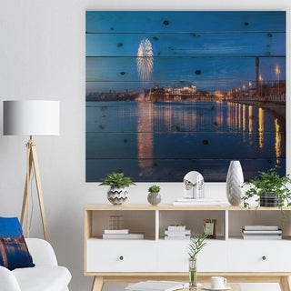 Designart 'Embankment of City Panorama' Cityscape Print on Natural Pine Wood - Multi-color