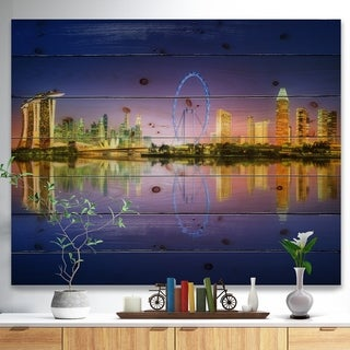 Designart 'Singapore Skyline and Blue Sky' Cityscape Print on Natural Pine Wood