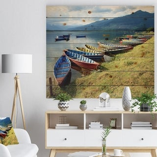 Designart 'Color Boats in Phewa Lake' Boat Print on Natural Pine Wood - Multi-color