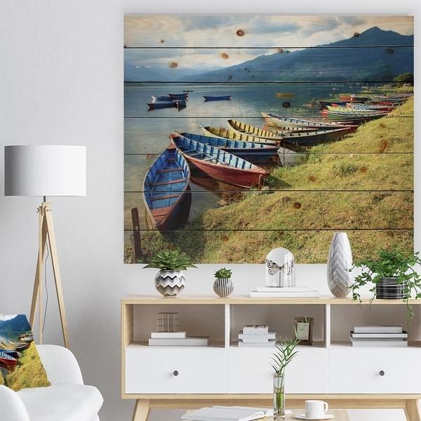 Designart 'Color Boats in Phewa Lake' Boat Print on Natural Pine Wood - Multi-color