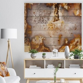Designart 'Europian brown agate with crystals -Stone Print on Natural Pine Wood - White